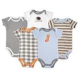 Luvable Friends Baby Girls' Cotton Bodysuits T-Shirt Set, Fox Short Sleeve 5 Pack