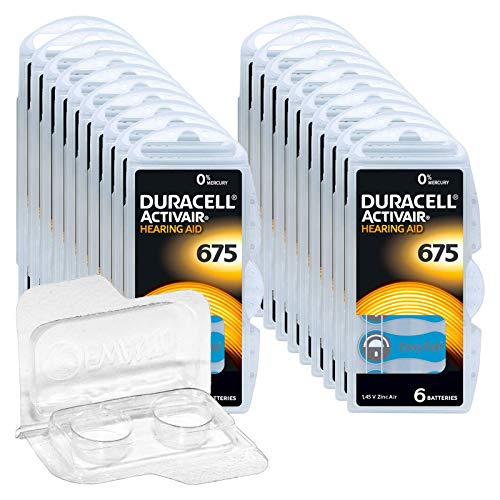 120x Für Duracell Activair 675 Hörgerätebatterien, 20x6er Blister PR44 Blau 24600 Hearing Aid + EWANTO Aufbewahrungsbox für 2 Batterien < Ø 12 mm x H 6 mm