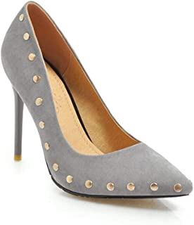 Rivet Pointed High Heels For Banquet Wedding Dress Daily (Color : Grey, Size : 35)