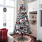 KINGSO 6ft Christmas Tree Pre-Lit Snow Flocked Hinged Christmas Trees Premium Artificial Christmas Pine Tree Full White Xmas Tree Christmas Holiday Decorations with Metal Foldable Stand