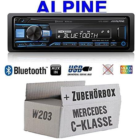 Autoradio Radio Alpine Ute 200bt Bluetooth Usb Mp3 1 Din Pkw Kfz 12v Einbauzubehör Einbauset Für Mercedes C Klasse Just Sound Best Choice For Caraudio Navigation