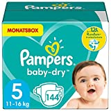 Pampers Windeln Größe 5 (11-16kg) Baby Dry, 144 Stück, MONATSBOX