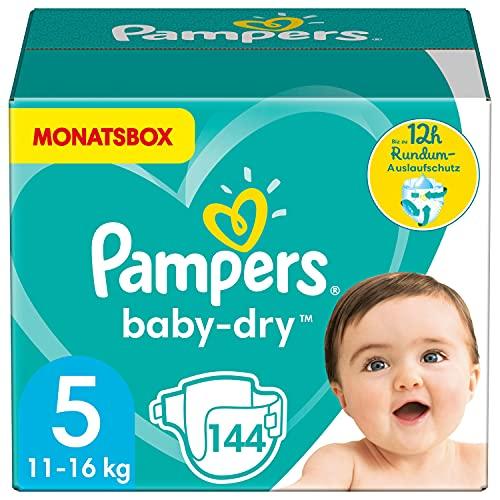 Pampers Windeln Größe 5 (11-16kg) Baby Dry, 144 Stück, MONATSBOX, Bis Zu 12Stunden Rundum-Auslaufschutz