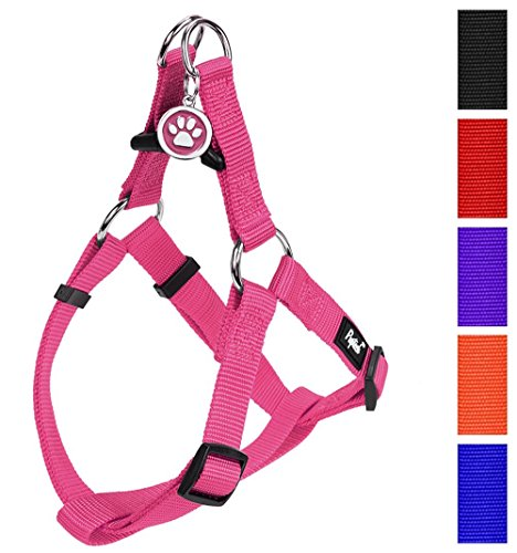"PUPTECK No Pull Dog Harness Adjustable Basic Nylon Step in Puppy Vest Outdoor Walking Chest Girth 15.6""-23.7"" Medium Pink"