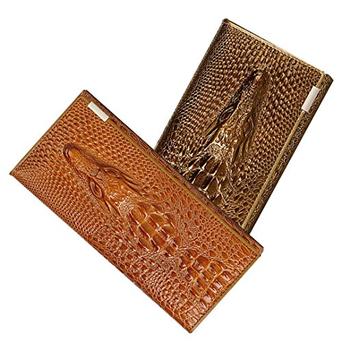 Naovio Women Wallet Elegant Clutch Alligator Embossed Long Purse Leather Credit Card Holder,Gold