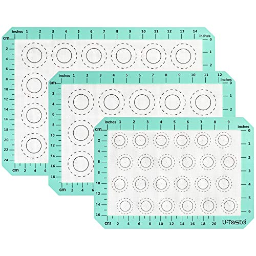 U-Taste 260°C Hitzebeständige Silikon Backunterlage, Macarons Backmatte mit Messung, Antihafte BPA Freie Ofenfeste Ausrollmatte für Fondant Gebäck Pizza (Klein Mittel Groß 3-teiliges Set, Aqua Sky)