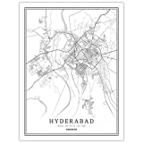 HONG Drucke Leinwand, Hyderabad Pakistan Stadtplan Gemälde