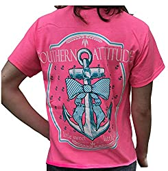 Southern Attitude Bow Anchor Pink Preppy Short Sleeve Shirt