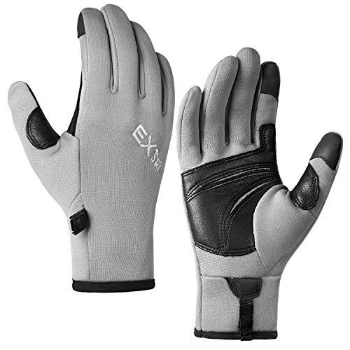 MCTi Touchscreen Gloves Fleece Lined Goatskin Palm Lightweight for Running Driving Grey Medium