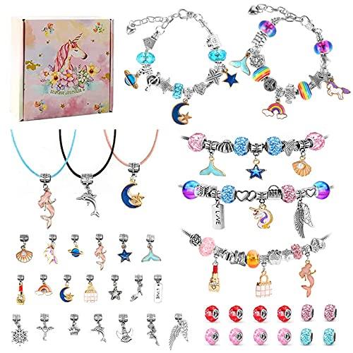 Charm Armband Kit DIY, 76 Stück Armbänder Selber Machen-Geschenke für Mädchen 6-12 jahre, Adventskalender Mädchen 2021 Armband Bastelset Mädchen mit charms anhänger
