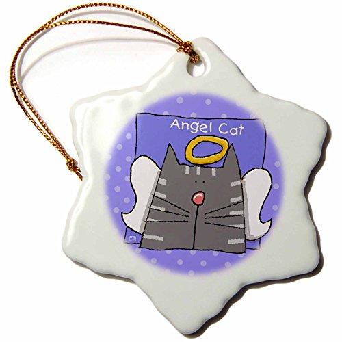 3dRose ORN_36661_1 Angel Gray Tabby Cat Cute Cartoon Pet Loss Memorial-Snowflake Ornament, Porcelain, 3-Inch