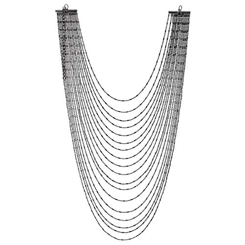 COOLSTEELANDBEYOND Grau Wasserfall Multi-Schichten Lange Metall Ball Kette Statement Anhänger Halskette, Einzigartige Hipster