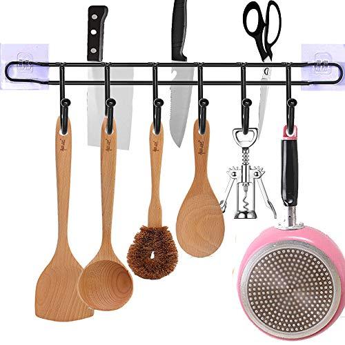 EigPluy Utensil RacksWall Mounted Kitchen Utensils Hanging Hooks with KnifeTowel Holder 17inch Drilling Free Kitchen ToolsPotTowelKnifeMugCups Storage Holder ShelfBlack