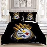 Gloves Bedding Comforters,Luxury Soft Comfortable,A Pair Yellow Black Gloves Interacted White Ring Middle Yellow Red Blue Stars Middle Words Steelers Colorful,Luxurious Bedroom Bedding Set,Queen Size