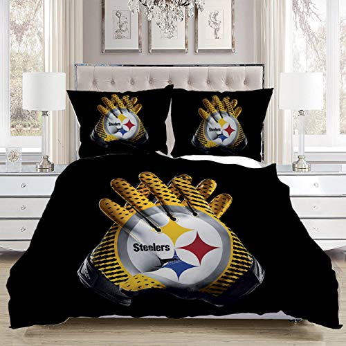 Gloves Bedding Comforters,Luxury Soft Comfortable,A Pair Yellow Black Gloves Interacted White Ring Middle Yellow Red Blue Stars Middle Words Steelers Colorful,Luxurious Bedroom Bedding Set,Full Size