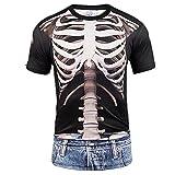 NIGHTMARE Camiseta de Calavera Rosa con Huesos en 3D, Estampado Realista, Pareja, Divertido, de Talla Grande, Cool Men M
