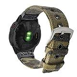 YOOSIDE Watch Band 26mm Quick Fit for Fenix 5X/Fenix 6X,Woven Canvas Camouflage Pattern Soft Breathable Wristband Strap for Garmin Fenix 5X/5X Plus,Fenix 3/3 HR, Tactix Bravo/Charlie,Quatix 3