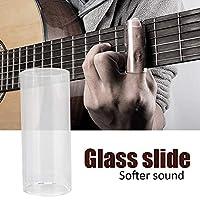 ギターのスライド、指を保護する軽量のギターガラスのスライド、ステンレス鋼+ガラスギターの弦楽器を演奏するためのバンジョーウクレレ