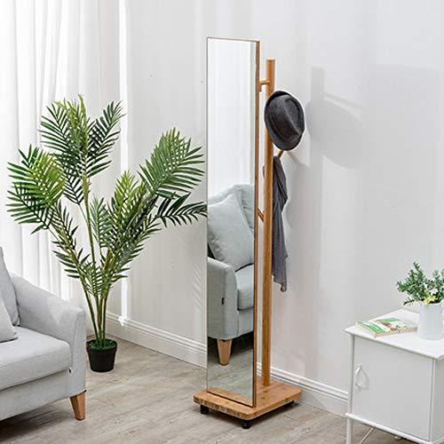 WANGXB Madera Perchero Árbol,de Pie Perchero,Espejo móvil,Material de bambú,Color Suave,sin Rebabas,sin dañar la Mano,fácil Montaje,Fácily rápidoin,para Pasillo o Dormitorio