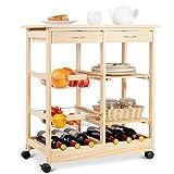 COSTWAY Küchenwagen Kiefernholz, Servierwagen auf Rollen, Rollwagen Küche, Küchentrolley mit...