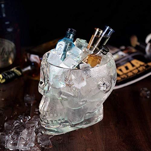 Iyan Bar Eiskübel, Schädel Wein Champagne Bucket Plexiglas Wein Chiller Ice Cube Container Cooler Party-Getränke Tub Barware (Color : Clear, Size : 19x15x15cm(7x6x6inch))