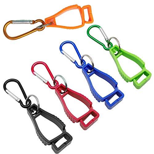 Hrroes 5 Pcs Pince à Gants Porte Gants avec Mousqueton Glove Clips de Sécurité Utilisé pour Éviter la Perte de Gants de Travail, Multicolore