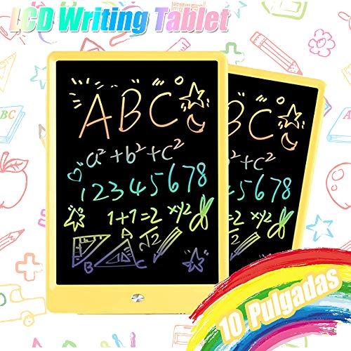 TEKFUN 10 Pulgadas Tablet para niños,Portatiles Buenos,Tableta de Escritura LCD de con Bloqueo de Pantalla borrable y función Reutilizable,Pizarra Luminosa niños,Juegos educativos niños(Amarillo)
