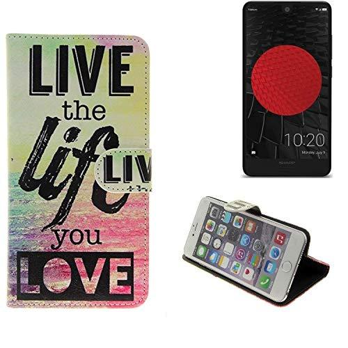 K-S-Trade Schutzhülle Für Sharp Aquos C10 Schutz Hülle 360° Wallet Hülle ''live Life Love'' Schutzhülle Handy Tasche Handyhülle Etui Smartphone Flip Cover Standfunktion (1x)