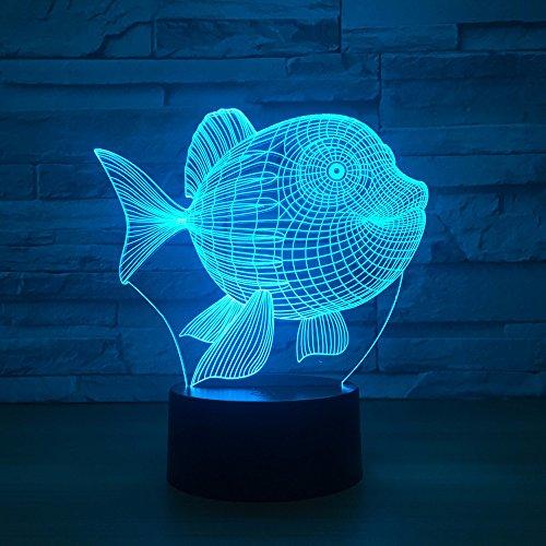 Vientre Fish electrónica para el hogar 3d Pequeña lámpara Dormitorio Mesita de noche Toque colorido Luz nocturna Usb Lámparas led