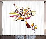 ABAKUHAUS champán Cortinas, Colorido Champagne Splash, Sala de Estar Dormitorio Cortinas Ventana Set de Dos Paños, 280 x 245 cm, Multicolor