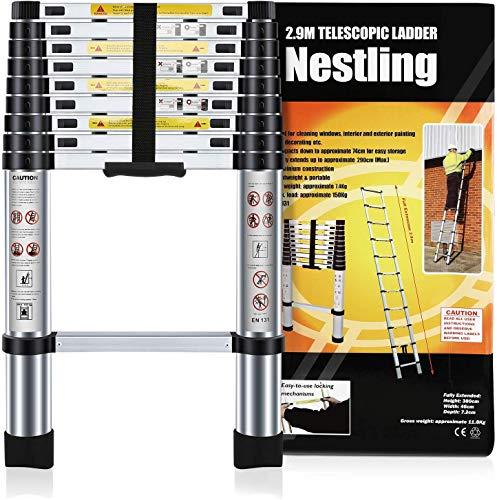 Nestling® 2.9M Scala Telescopica Pieghevole, Multiuso Allungabile Scaletta Alluminio, Carico Massimo 150 kg,Norme EN131