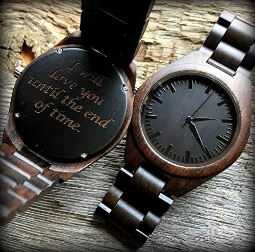 Custom Dark Zebra Wood Mens Watch - Luxury Wooden Mens Watch - Stainless Steel Mixed Chronograph Watch - Custom Engraved Wood Watch