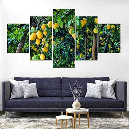 WOKCL Leinwanddruck Wandkunst Dekoration 5 Panel Zitronenbaum Obst Poster HD Drucke Modulare Bilder Für Wohnzimmer, kein Rahmen