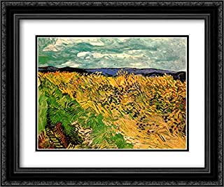 Wheat Field with Cornflowers 24x20 Black Ornate Frame and Double Matted Museum Art Print by Vincent Van Gogh