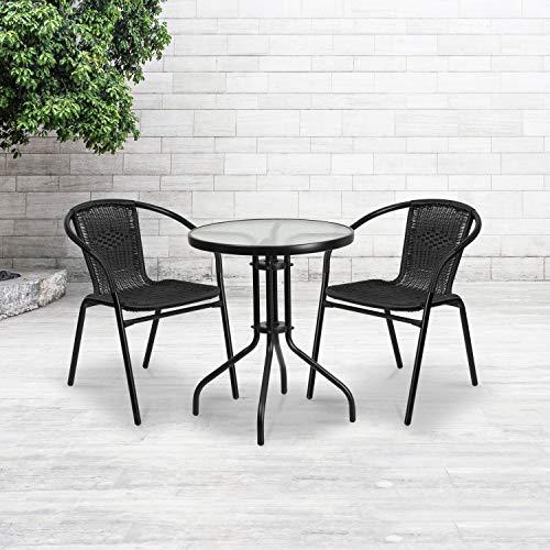 Flash Furniture Black Rattan Indoor-Outdoor Restaurant Stack Chair