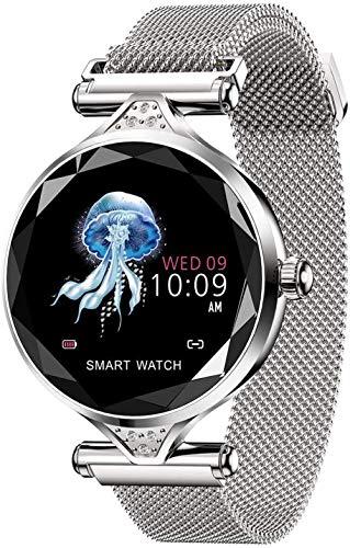 Reloj inteligente con hebilla electromagnética, resistente al agua, reloj inteligente para mujer, ritmo cardíaco, rastreador de fitness para teléfonos Android iOS, plata