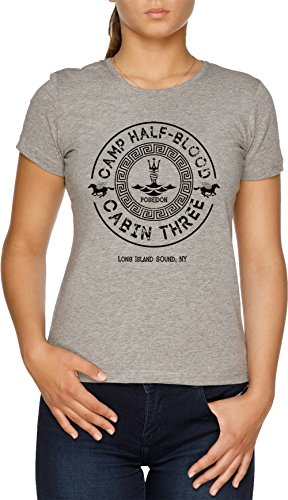 Percy Jackson - Camp Half-Blood - Cabin Three - Poseidon Damen T-Shirt Grau