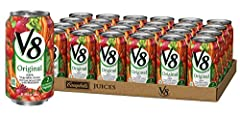 V8 100 percentage Vegetable Juice. Expertly blended for a delicious taste Package includes 24, 11.5 Fluid Ounce V8 juice cans 2 full servings of veggies and an excellent source of antioxidant vitamins A and C in every can No artificial colors, flavor...