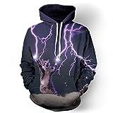 NEWCOSPLAY Unisex Realistic 3D Digital Print Pullover Hoodie Hooded Sweatshirt Lion (Lightning Cat 2, s)