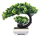 yoerm Small Fake Plants Artificial Zen Bonsai Tree for Home Office Indoor Decor, Size: 9.5 x 8.5 inch