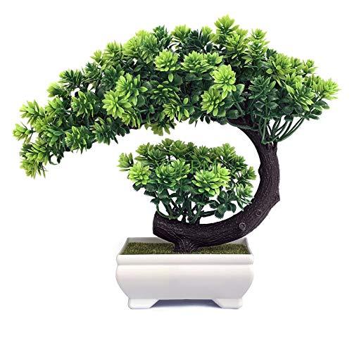 Yoerm Pequenas Plantas Falso Árvore Zen Bonsai Artificial para Decoração Interna de Escritório Doméstico, Tamanho: 24,13 x 21,59 cm (Pinho de Boas-Vindas)