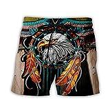 Bañadores Para Hombre Impresión 3D Viento Étnico Boho Águila Animal Hombres Pantalones Cortos De Playa Short Homme 3D Print Quick Dry Drawstring Board Short Pantalones Cortos De Fitness Pantalon