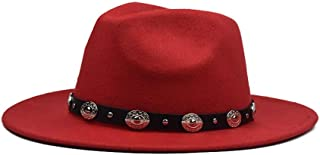 2019 Mens Womens Hats Womens Winter Fedora Hat for Women Lady Outdoor Sun Beach Hat Travel with Punk Belt Wool Hat Wide Brim Hat Outdoor Party Hat Size 56-59CM Soft (Color : Red, Size : 56-59)