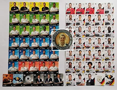 Rewe EM 2020 DFB - Sammelkarten - KOMPLETT alle 35 Normale Karten EM 2020 + alle 36 Normale Karten der EM 2016 + 1 Münze Lukas Podolski in Silber und 1 TOYSAGENT Sonderkarte