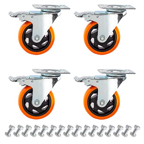 4' Swivel Casters Wheels Set of 4 with Screw Safety Dual Locking and Polyurethane Foam No Noise Wheels,Heavy Duty-450 Lbs Per Caster