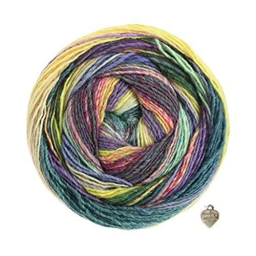 Lana Grossa Gomitolo Molto - Ovillo de lana (200 g, con degradado de color y corazón), color azul petróleo y beige claro, verde claro, lila y gris y amarillo camel