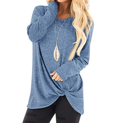 kaifongfu Loose Long Sleeve Women Solid Color O Neck Shirt Blouse ?Light Blue,L?
