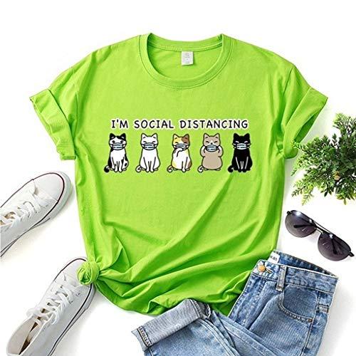 LXHcool Coron_avirus I'm Social Distancing Mask Cat Print Short Sleeve T-Shirt (Color : Green, Size : XX-Large)