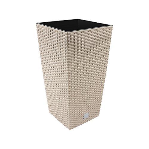 26,6 Liter Pflanzkübel Blumenkübel in Rattan-Optik inkl. Einsatz beige mocca Rato Serie viereckig
