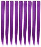 Perruques pour poupées Extensions de cheveux colorés Clip pour les filles et les enfants Accessoires de poupées multicolores 9 PCS (violet)